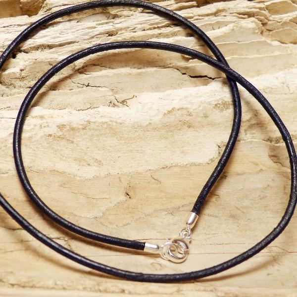 Lederband schwarz 2mm mit Verschluss in SILBER 925/-