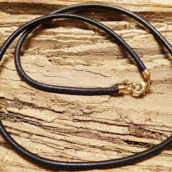 Lederband schwarz 3mm mit Verschluss in Silber VERGOLDET