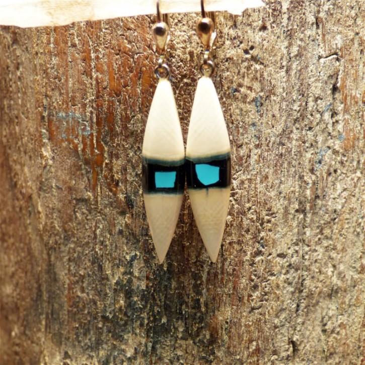 Mammut-Ohrringe mit Türkis