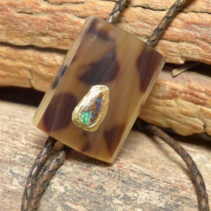 Horn-Bola mit Boulder-Opal