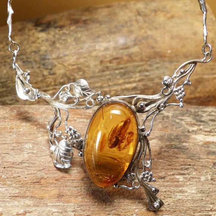 Silber-Collier mit Naturbernstein