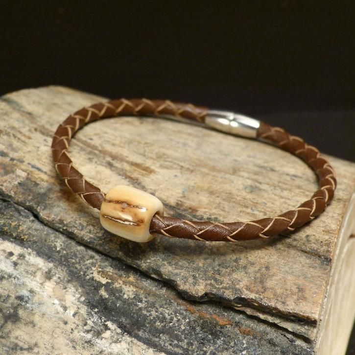 Flechtleder-Armband mit Mammut-Elfenbein