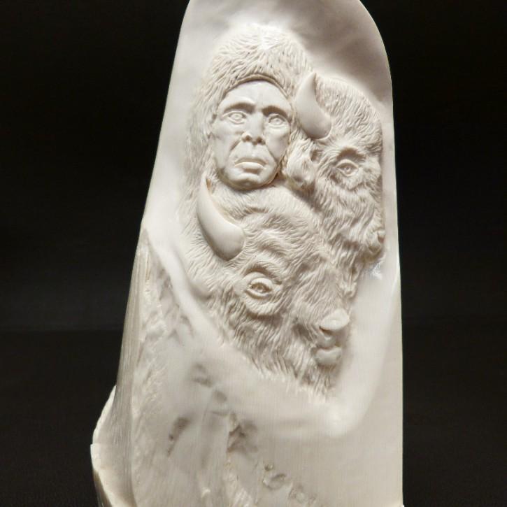 Relief Indianer mit Bisons