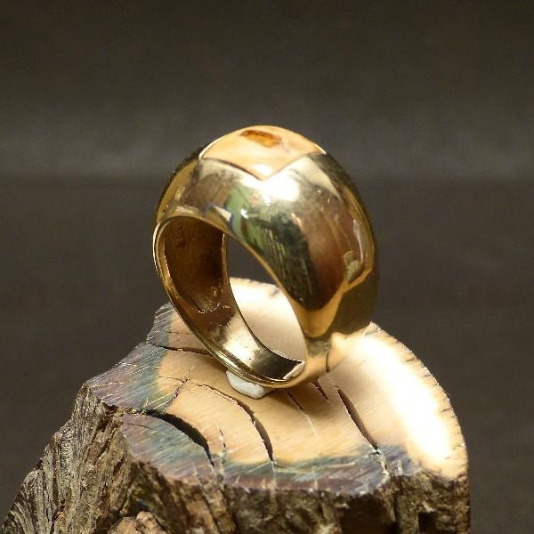 vergoldeter Silberring mit Mammut u. Bernstein