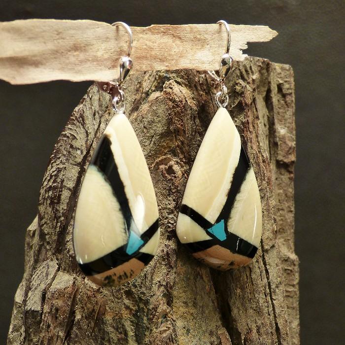 Mammut-Ohrhänger mit Türkis
