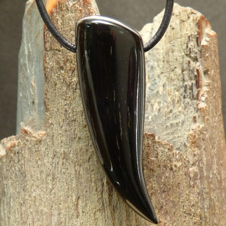 Zahnanhänger XL aus schwarzem Horn