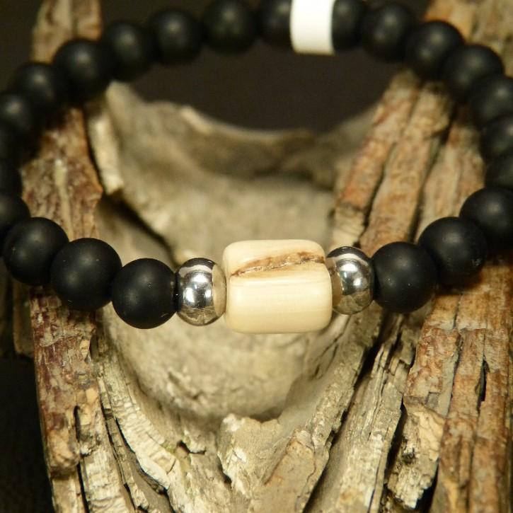 Onix-Armband mit Mammut und Stahl