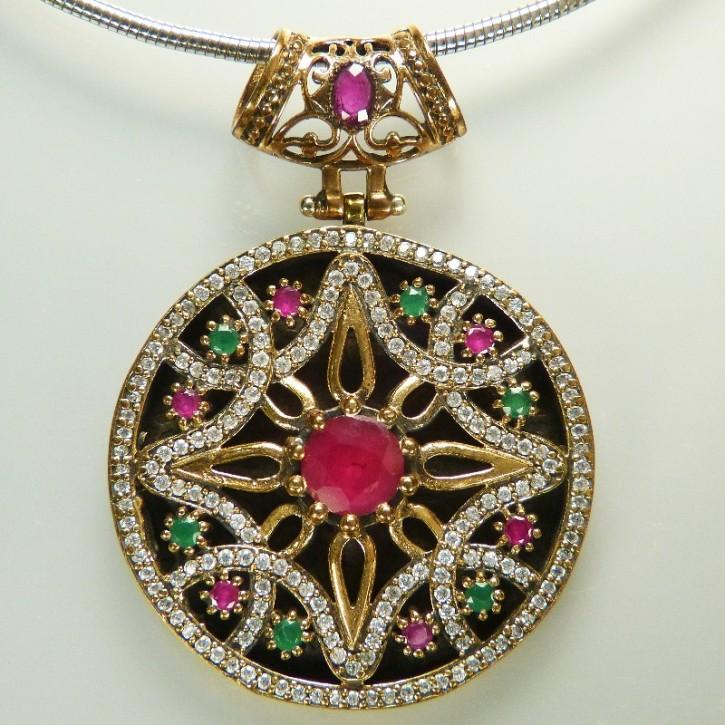 Silberanhänger mit Rubin/Smaragd und Weißtopas