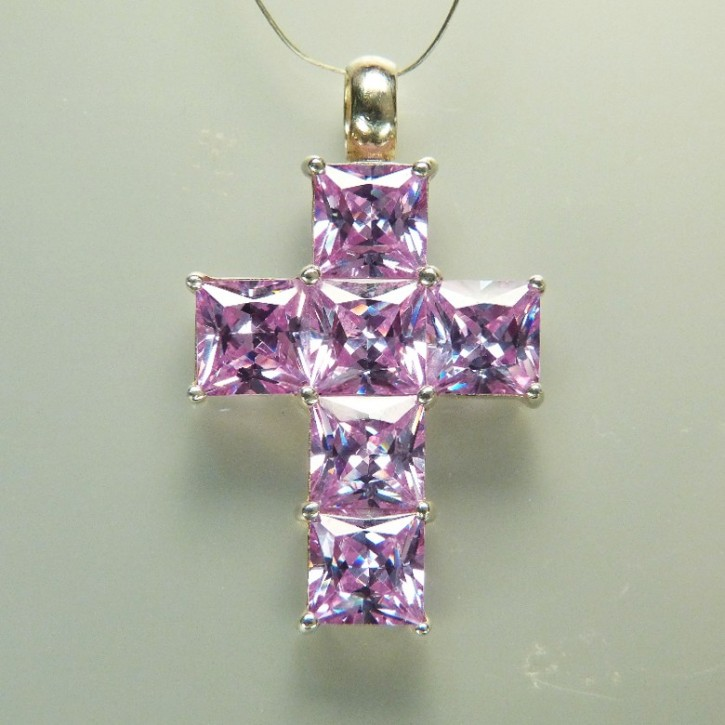 Silberkreuz mit Zirkonia in Light Amethyst