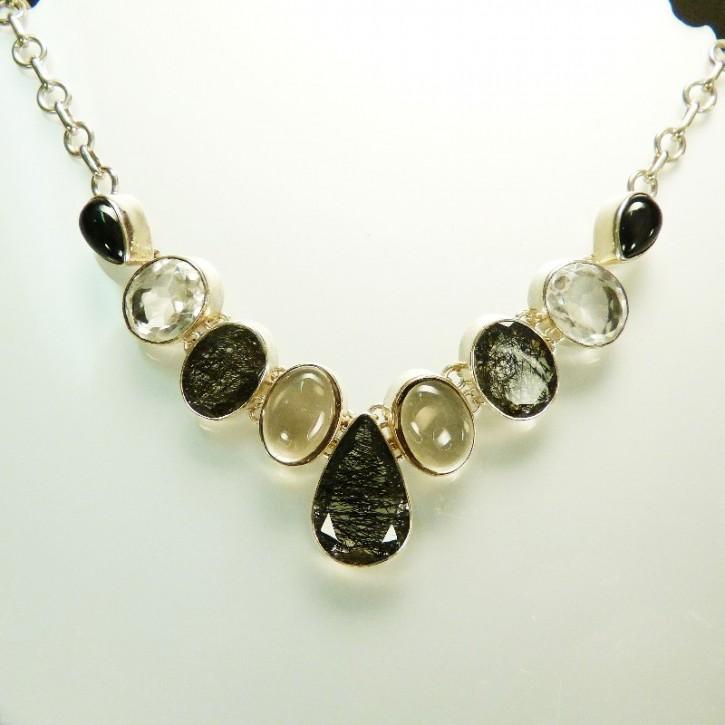 Silber-Collier mit Rutilquarz und Bergkristall