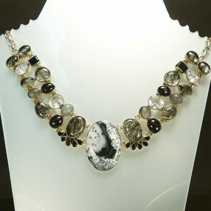 Silber-Collier mit Jaspis und Bergkristall