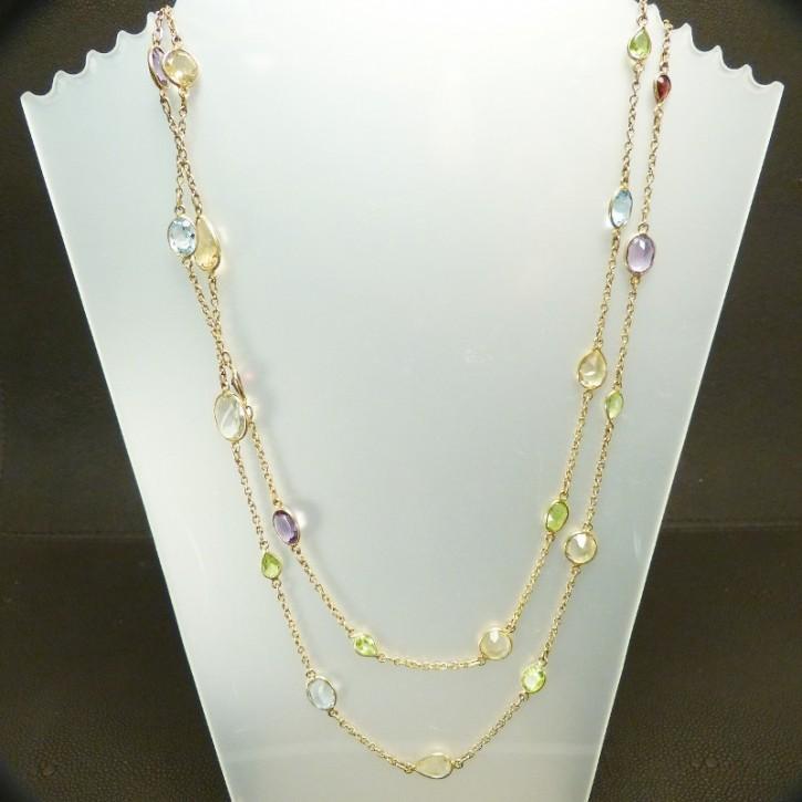 Silberkette mit echten Steinen ca. 110cm lang