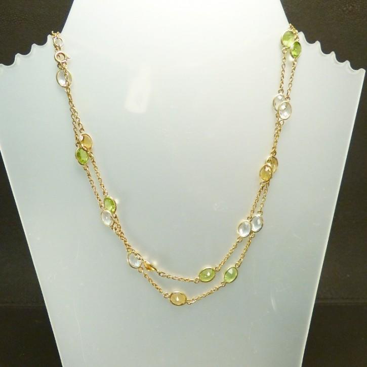 Silberkette mit echten Steinen ca. 95cm lang