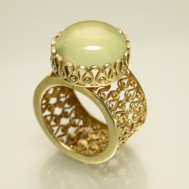 Silberring vergoldet mit Calcedon W19,5