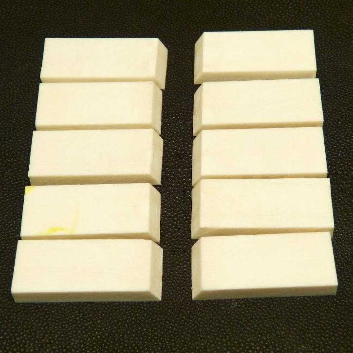 10 Stück Kasein Zuschnitte ca. 39-42x18x6-6,5mm