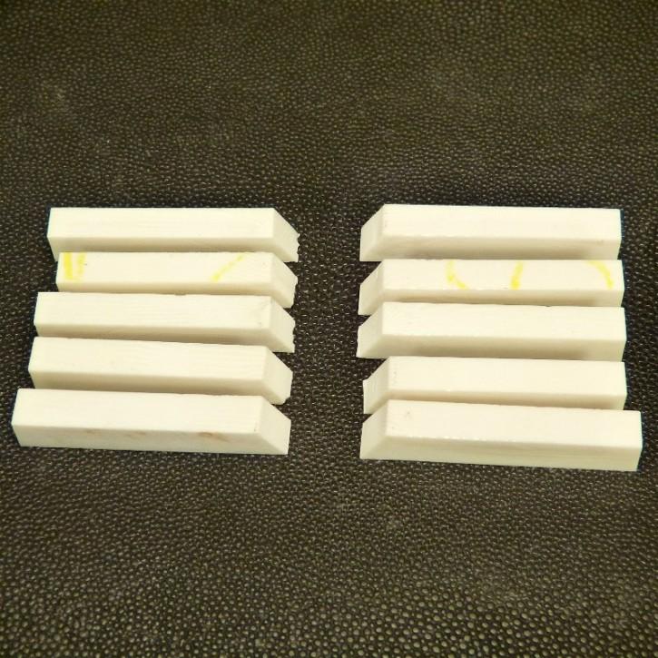 10 Stück Kasein Zuschnitte ca. 40-44 x 7 x 8mm