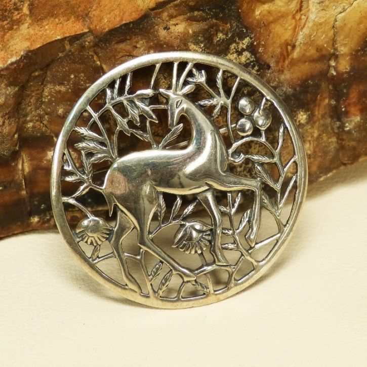 """große Silberbrosche 925/- """"Gazelle"""""""