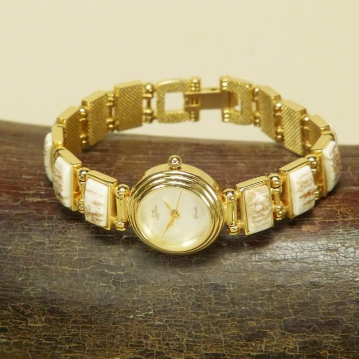 Armbanduhr mit Mammutrinde
