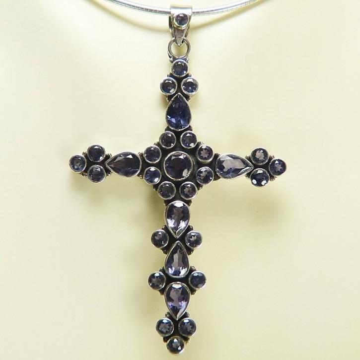 großes Silber-Kreuz mit Iolith