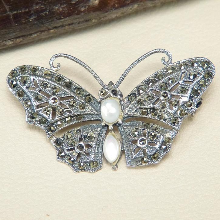 Schmetterlings-Brosche mit Perlmutt