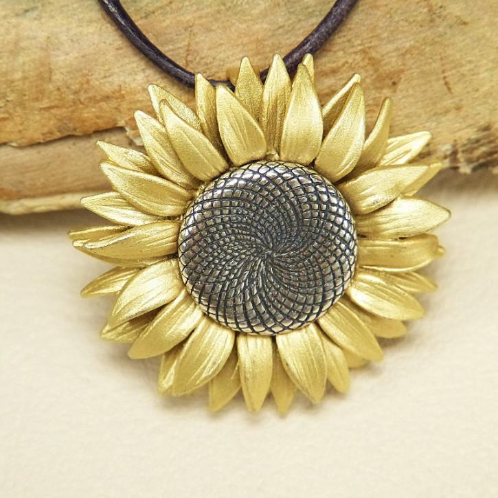 Brosche/Anhänger Sonnenblume 925/-