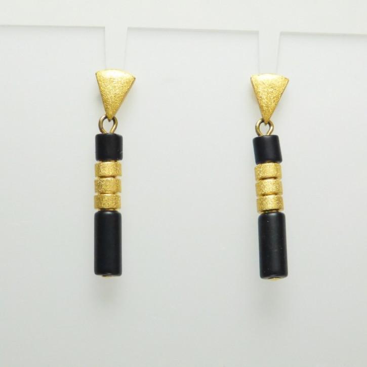 Ohrringe Onix mit goldplattiertem Silber