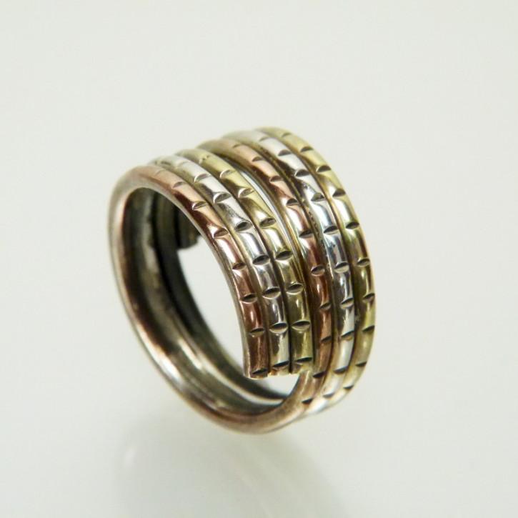 Silberring 3-farbig vergoldet