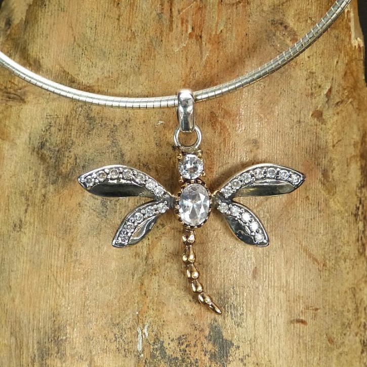 Silberanhänger Libelle mit Weißtopasen