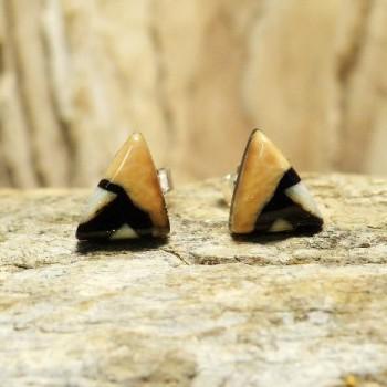 kleine Dreieckohrstecker beige/braun