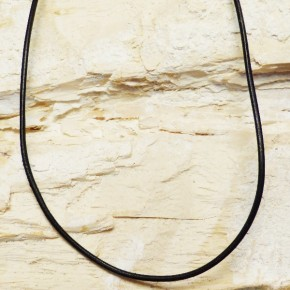 Lederband schwarz 2 mm / 50 cm mit Schließe in Silber vergoldet