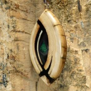 Mammutanhänger toll gemasert mit Malachit