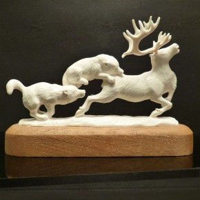Jagdszene Rentier mit Wölfen