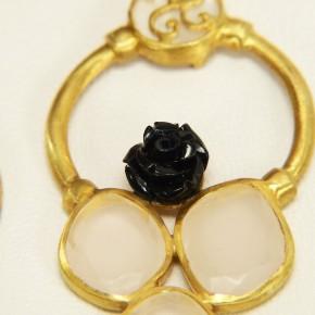 auffällige Ohringe Silber mit Rosenquarz