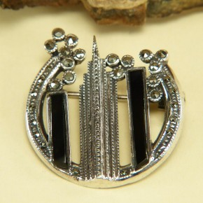Brosche Art Deco Silber mit Emaille