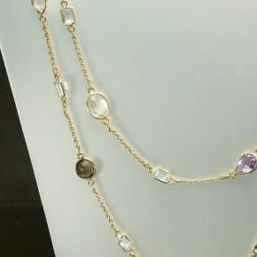 Silberkette mit echten Steinen ca. 140cm lang
