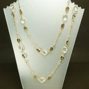 Silberkette mit echten Stein ca. 140cm lang