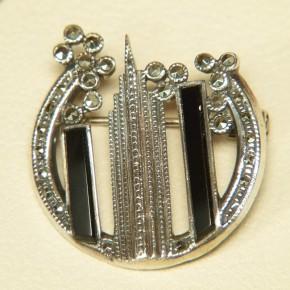 Art-Deco Brosche Silber mit Emaille