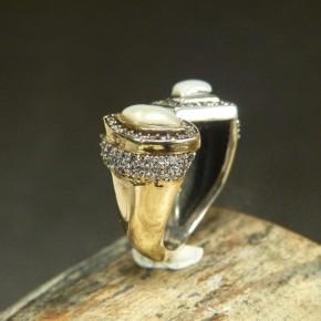 Silberring mit Weißtopas und Perlen W18-20