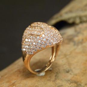 auffälliger Silberring vergoldet mit Zirkonia Größe 58 (Ø ca. 18,5 mm)