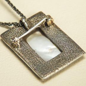Silber-Anhänger/Brosche mit Perlmutt ohne Kette/Band