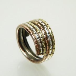 Silberring 3-farbig vergoldet Größe 61 (Ø ca. 19,4 mm)