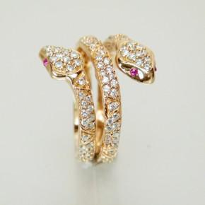 """Silberring """"Schlange"""" rosé vergoldet W 18 - 20 Größe 57 (Ø ca. 18,2 mm)"""
