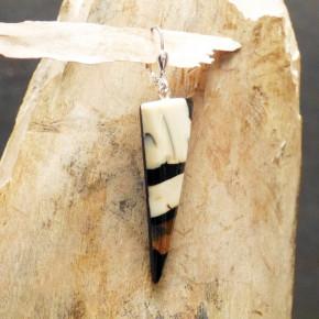 einzelner Mammut-Ohrhänger dunkelbraun/creme