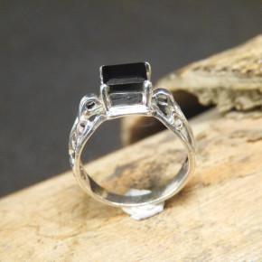 Silberring mit schwarzem Onix Größe 57 (Ø ca. 18,2 mm)