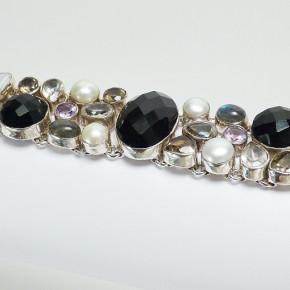 Silberarmband mit echten Steinen